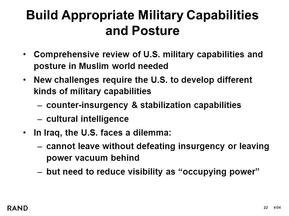 22 4/04 Build Appropriate Military Capabilities and Posture Comprehensive review of U.S.