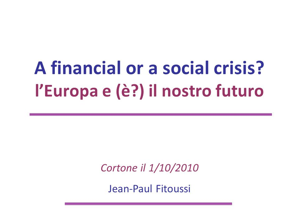 ©Jean-Paul Fitoussi/32 V.The economic cost of the non-political Europe V.2.