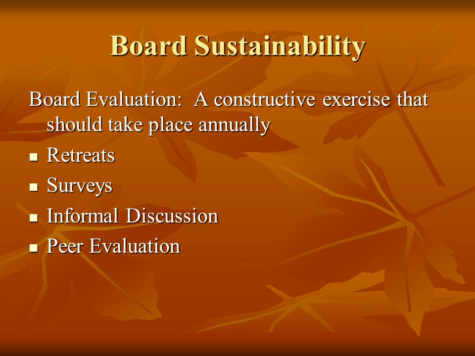Board Sustainability Board Evaluation: A constructive exercise that should take place annually Retreats Retreats Surveys Surveys Informal Discussion Informal Discussion Peer Evaluation Peer Evaluation