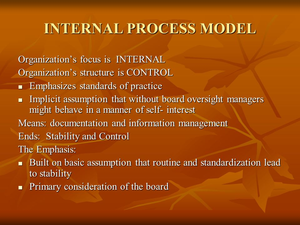 INTERNAL PROCESS MODEL Organization's focus is INTERNAL Organization's structure is CONTROL Emphasizes standards of practice Emphasizes standards of practice Implicit assumption that without board oversight managers might behave in a manner of self- interest Implicit assumption that without board oversight managers might behave in a manner of self- interest Means: documentation and information management Ends: Stability and Control The Emphasis: Built on basic assumption that routine and standardization lead to stability Built on basic assumption that routine and standardization lead to stability Primary consideration of the board Primary consideration of the board