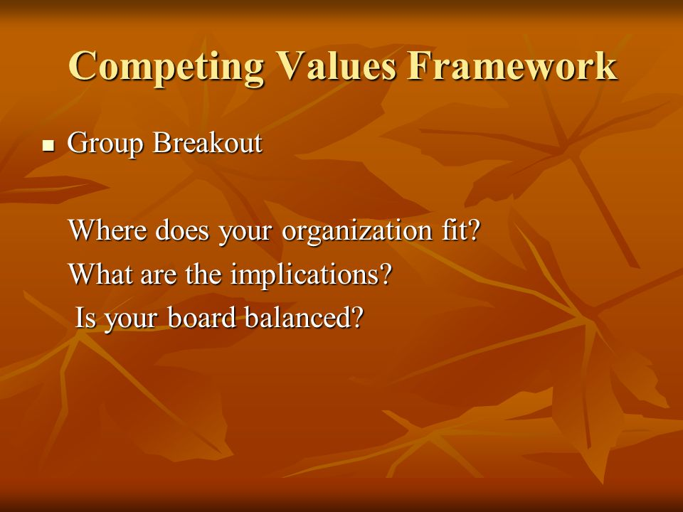 Competing Values Framework Group Breakout Group Breakout Where does your organization fit.