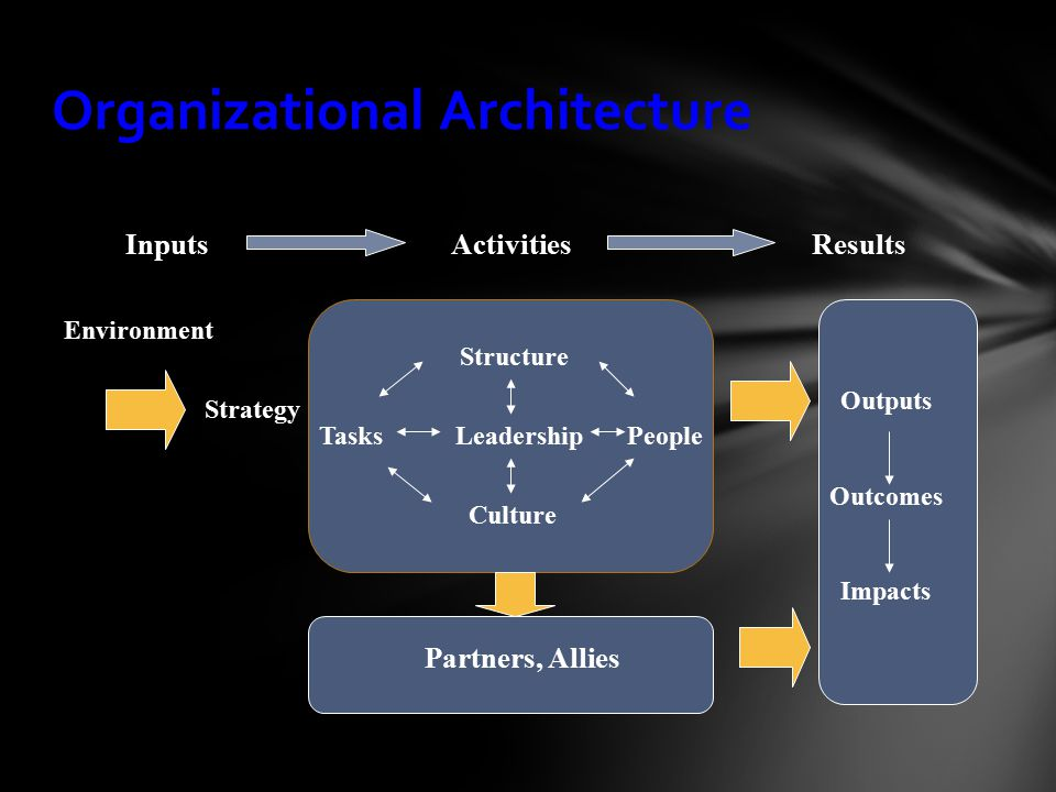Organizational Architecture InputsResults Partners, Allies Activities Structure Tasks Culture PeopleLeadership Strategy Environment Outputs Outcomes Impacts