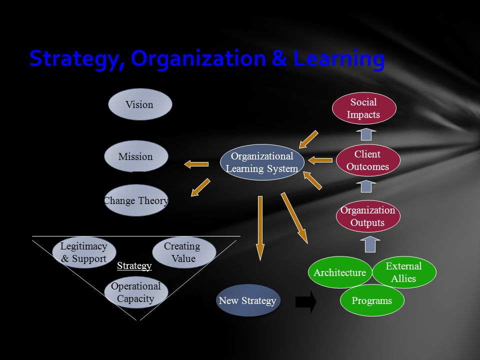 Strategy, Organization & Learning Mission Operational Capacity Operational Capacity Legitimacy & Support Legitimacy & Support Creating Value Creating Value Vision Organizational Learning System Client Outcomes Social Impacts Architecture Organization Outputs Programs External Allies New Strategy Strategy Change Theory