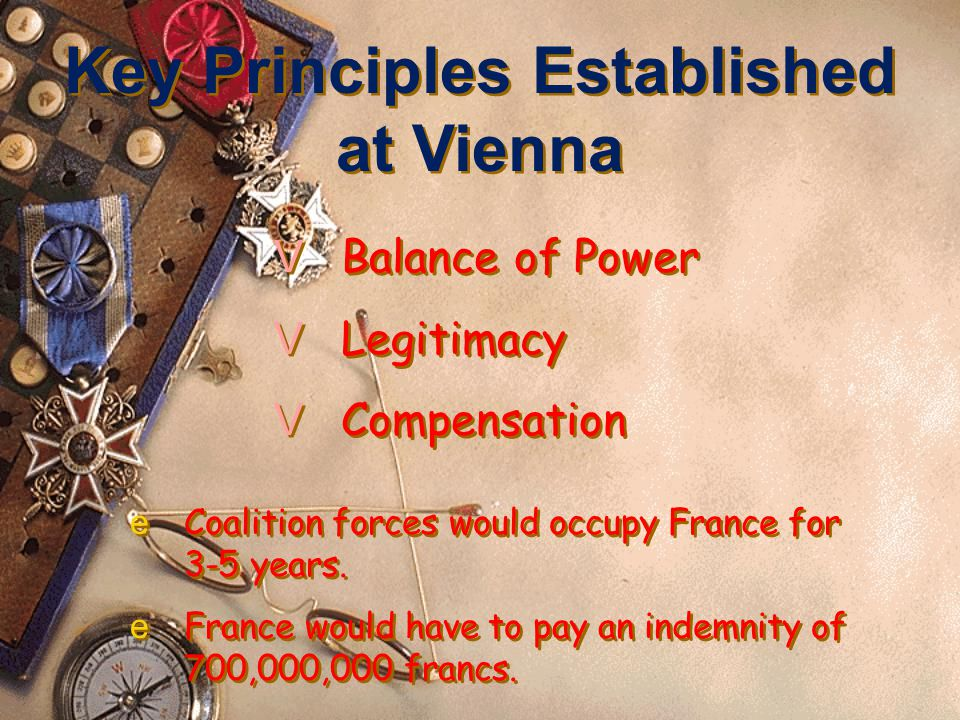 Key Players at Vienna The Host Prince Klemens von Metternich (Aus.) Foreign Minister, Viscount Castlereagh (Br.) Tsar Alexander I (Rus.) King Frederick William III (Prus.) Foreign Minister, Charles Maurice de Tallyrand (Fr.)