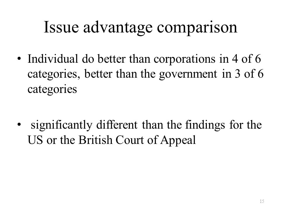 Issue advantage comparison Individual do better than corporations in 4 of 6 categories, better than the government in 3 of 6 categories significantly different than the findings for the US or the British Court of Appeal 15