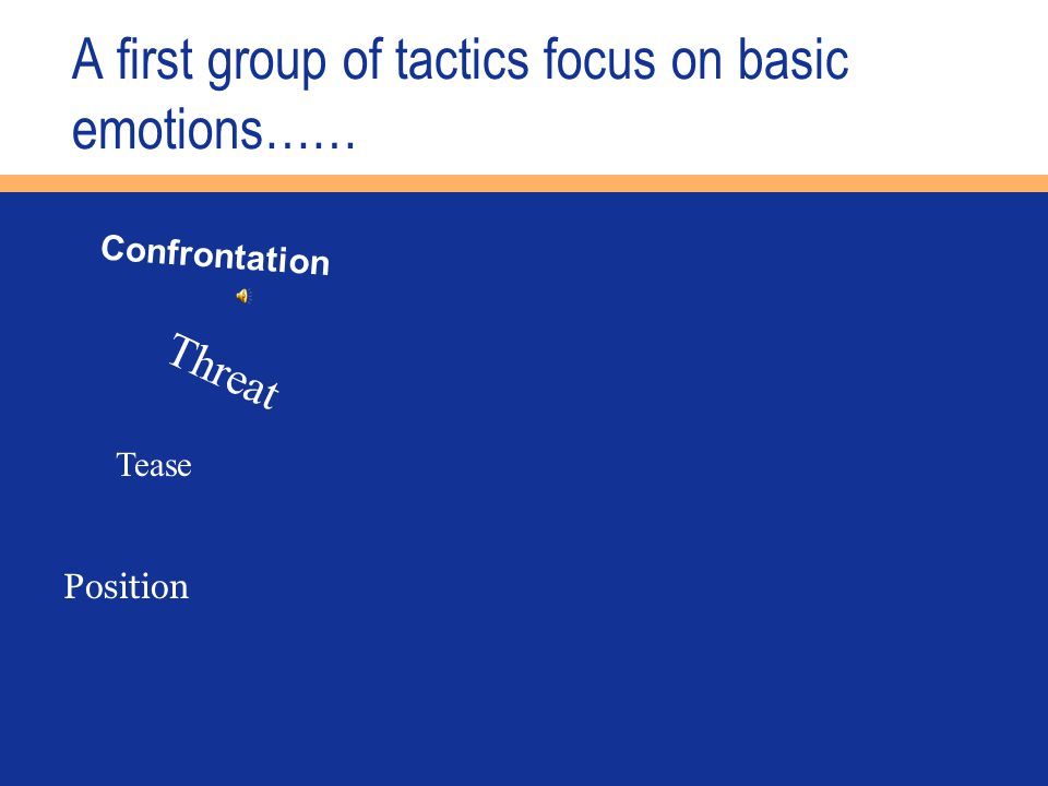 A first group of tactics focus on basic emotions…… Confrontation Threat Tease Position