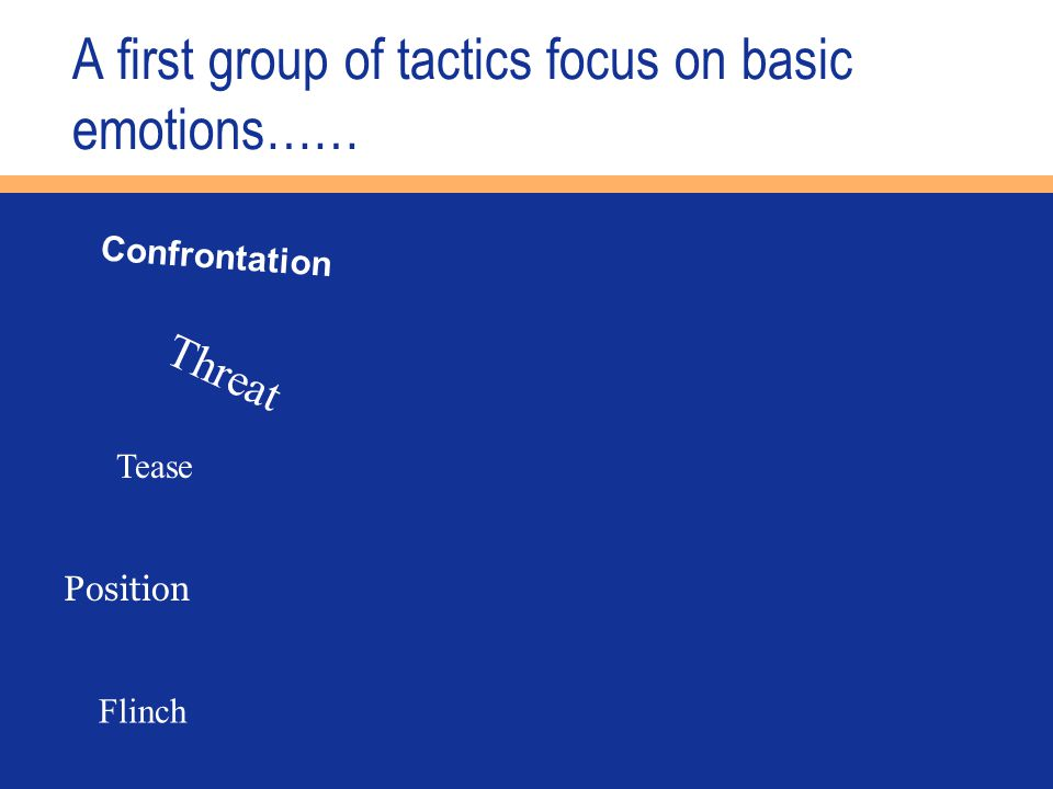 A first group of tactics focus on basic emotions…… Confrontation Threat Tease Position Flinch