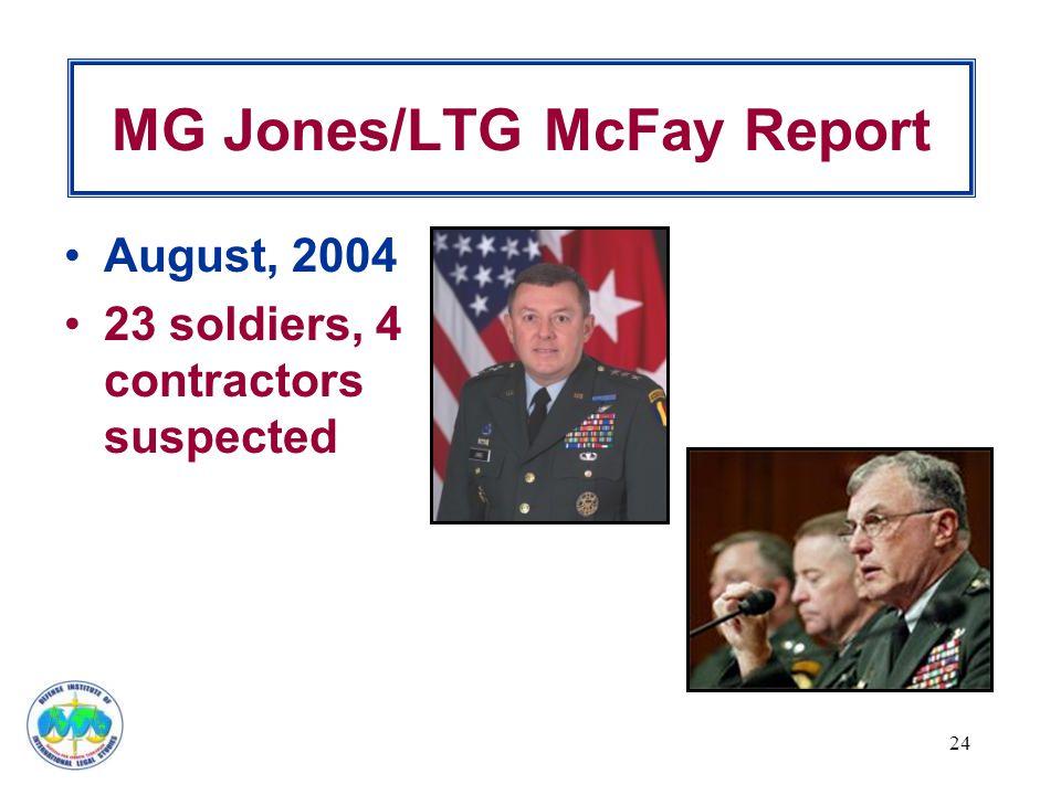 MG Jones/LTG McFay Report August, 2004 23 soldiers, 4 contractors suspected 24