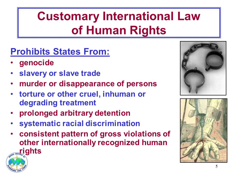 5 Customary International Law of Human Rights Prohibits States From: genocide slavery or slave trade murder or disappearance of persons torture or other cruel, inhuman or degrading treatment prolonged arbitrary detention systematic racial discrimination consistent pattern of gross violations of other internationally recognized human rights