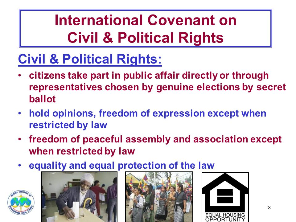 8 Civil & Political Rights: citizens take part in public affair directly or through representatives chosen by genuine elections by secret ballot hold opinions, freedom of expression except when restricted by law freedom of peaceful assembly and association except when restricted by law equality and equal protection of the law