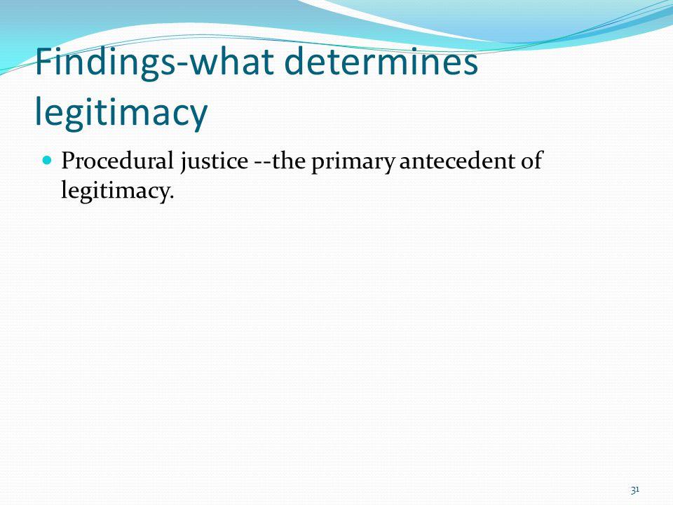 Findings-what determines legitimacy Procedural justice --the primary antecedent of legitimacy. 31