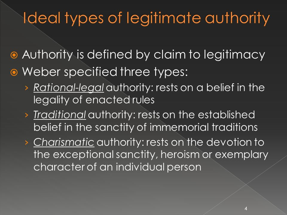  Legal Authority rests on the acceptance of the following mutually interdependent ideas: › Any given legal norm may be established by agreement or by imposition, on grounds of expediency or value rationality or both, with a claim to obedience at least on the part of the members of the organization › Every legal norm consists essentially in a consistent system of abstract rules that have been intentionally established › The superior is subject to an impersonal order by orienting his actions to it in his own dispositions and commands › The person who obeys authority does so as a member of the organization and what he obeys is the only law › The person who obeys authority does not obey a person in authority as an individual, but rather as the superior of an impersonal order 5