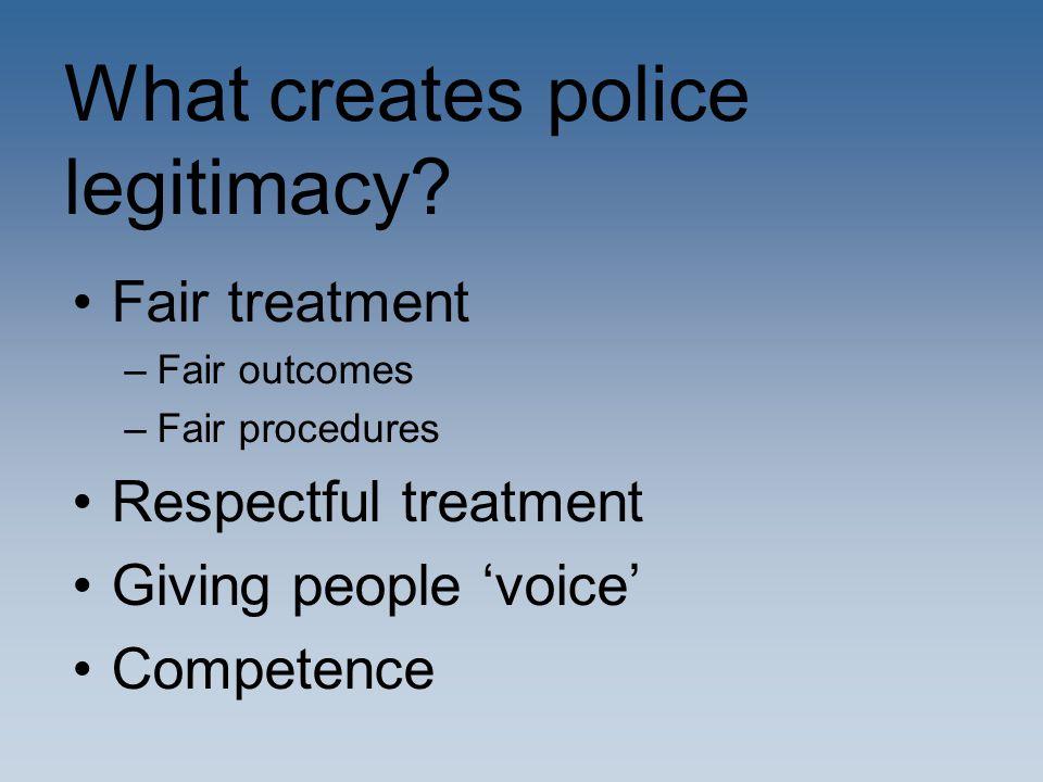 What creates police legitimacy.