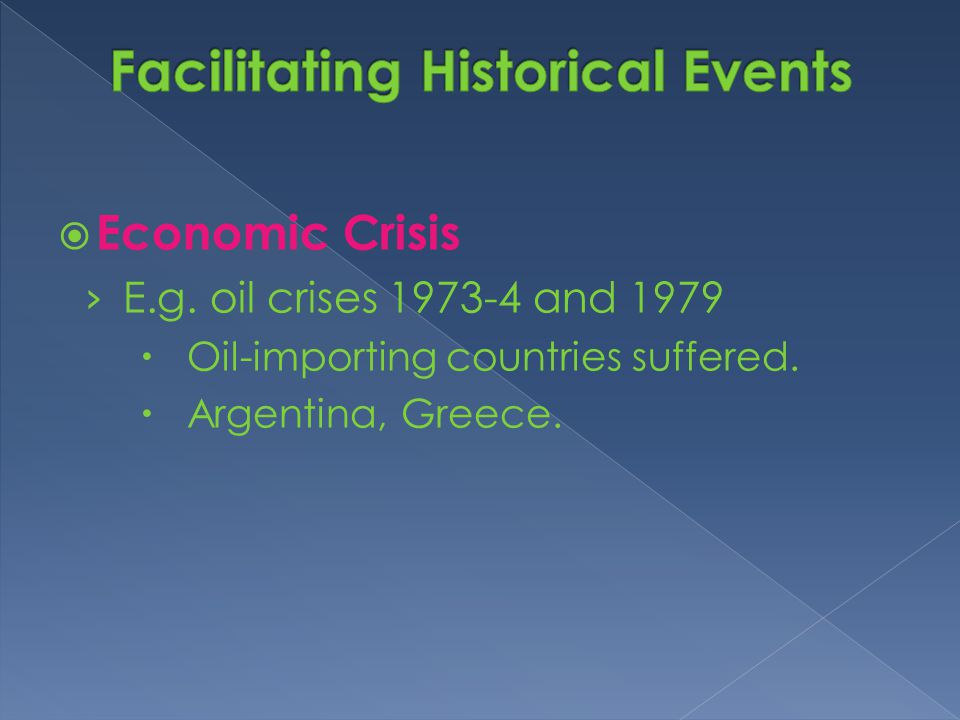 Economic Crisis › E.g. oil crises 1973-4 and 1979  Oil-importing countries suffered.