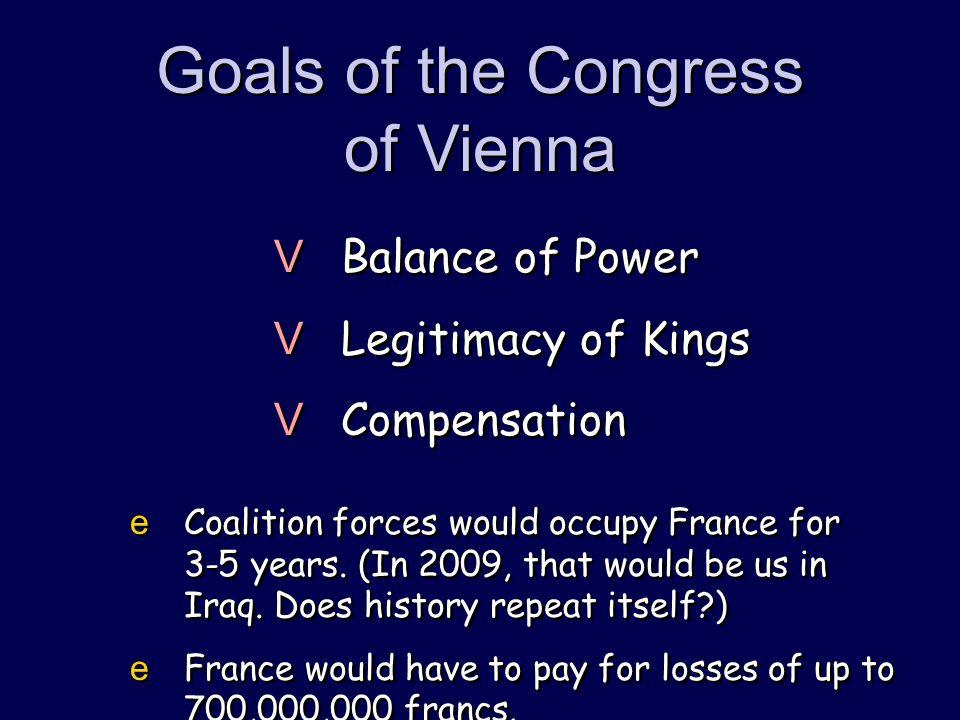 Goals of the Congress of Vienna VBalance of Power VLegitimacy of Kings VCompensation VBalance of Power VLegitimacy of Kings VCompensation eCoalition f