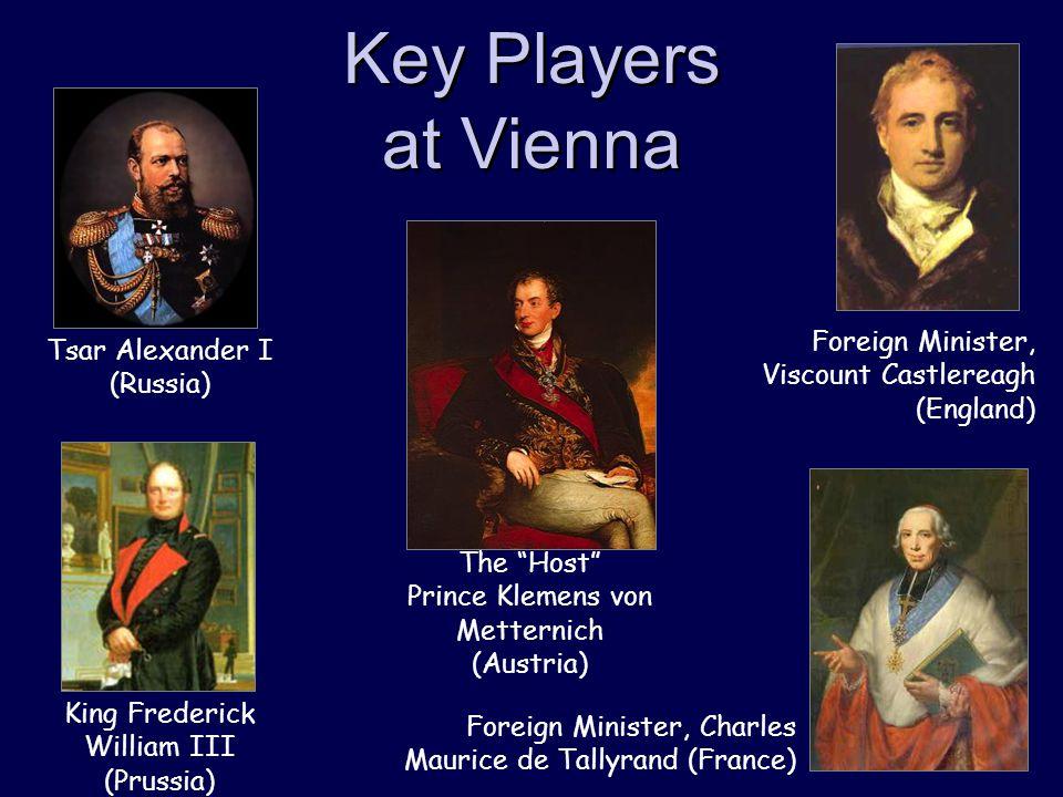 "Key Players at Vienna The ""Host"" Prince Klemens von Metternich (Austria) Foreign Minister, Viscount Castlereagh (England) Tsar Alexander I (Russia) Ki"