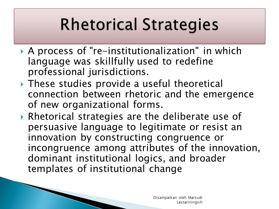  A process of re-institutionalization in which language was skillfully used to redefine professional jurisdictions.