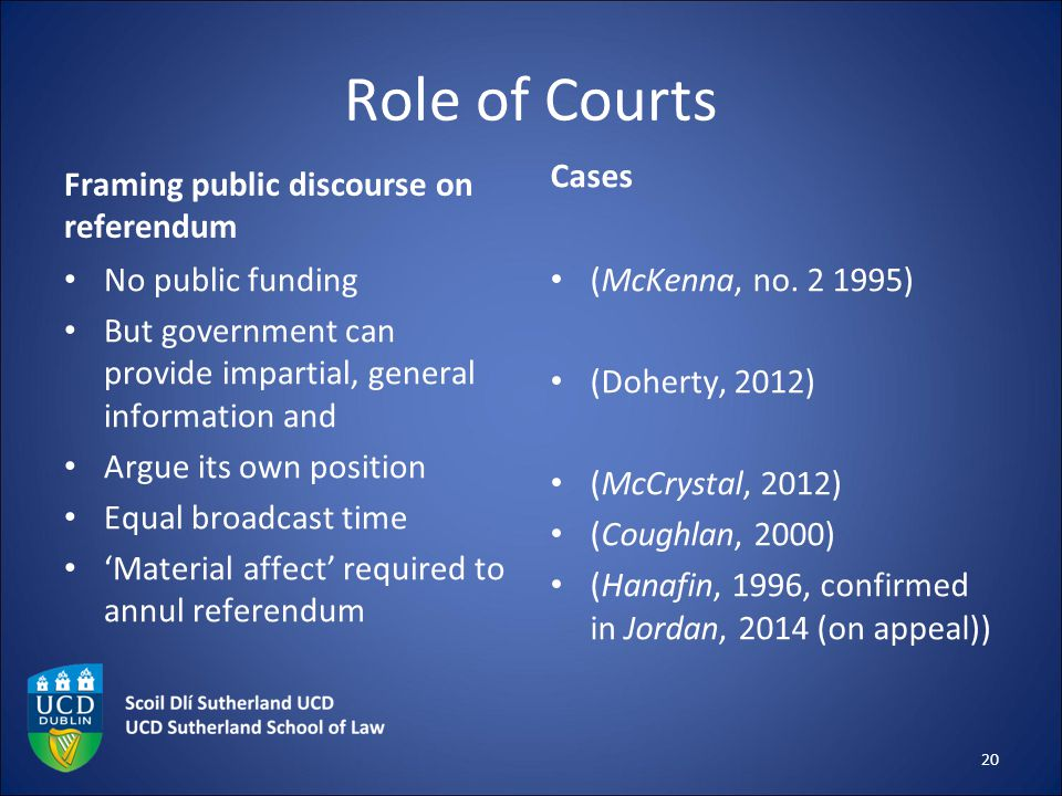 Role of Courts Framing public discourse on referendum No public funding But government can provide impartial, general information and Argue its own po