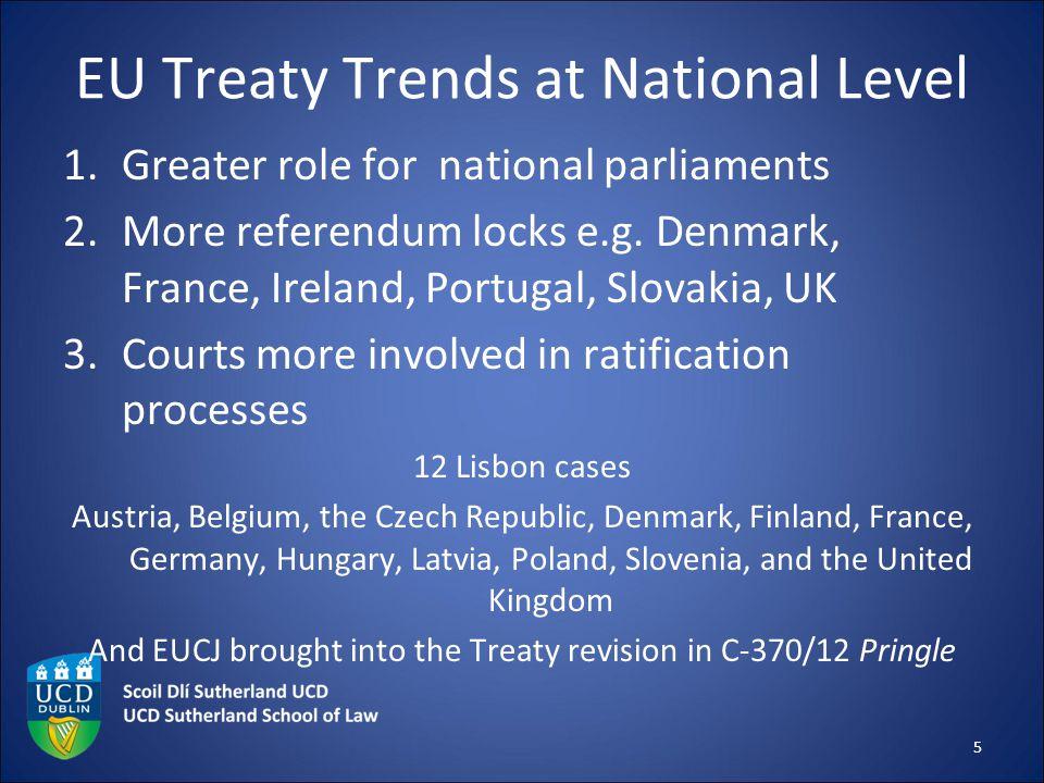 EU Treaty Trends at National Level 1.Greater role for national parliaments 2.More referendum locks e.g. Denmark, France, Ireland, Portugal, Slovakia,