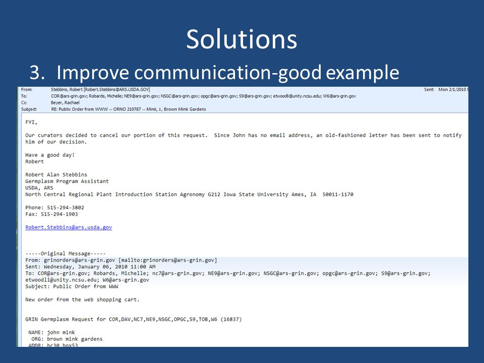 Solutions 3.Improve communication-good example