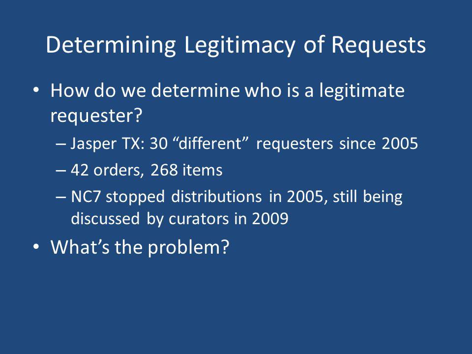 Determining Legitimacy of Requests How do we determine who is a legitimate requester.