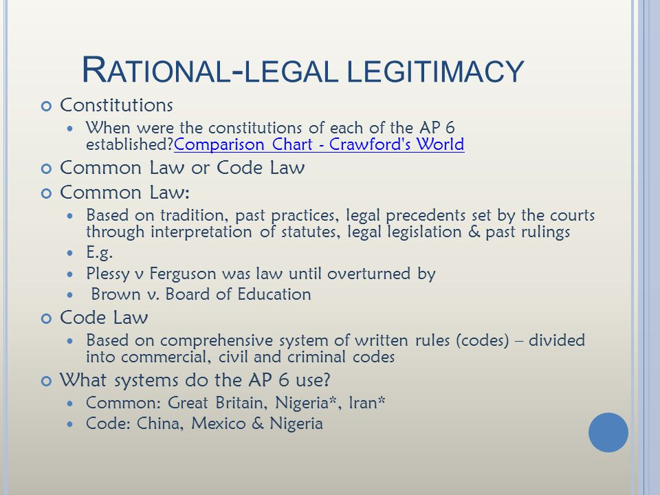R ATIONAL - LEGAL LEGITIMACY Constitutions When were the constitutions of each of the AP 6 established?Comparison Chart - Crawford s WorldComparison Chart - Crawford s World Common Law or Code Law Common Law: Based on tradition, past practices, legal precedents set by the courts through interpretation of statutes, legal legislation & past rulings E.g.