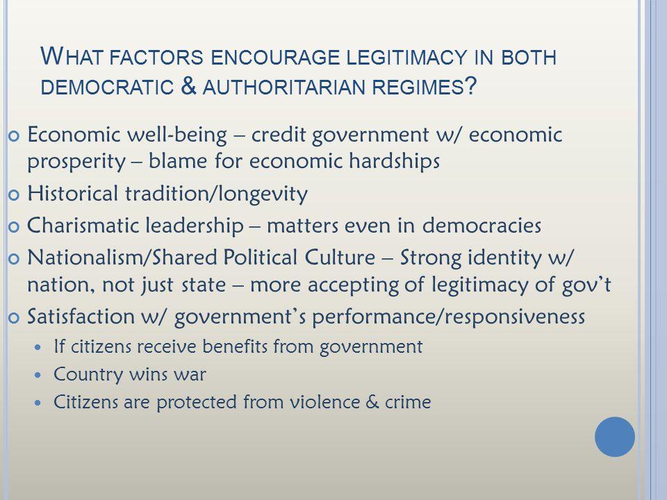 W HAT FACTORS ENCOURAGE LEGITIMACY IN BOTH DEMOCRATIC & AUTHORITARIAN REGIMES ? Economic well-being – credit government w/ economic prosperity – blame