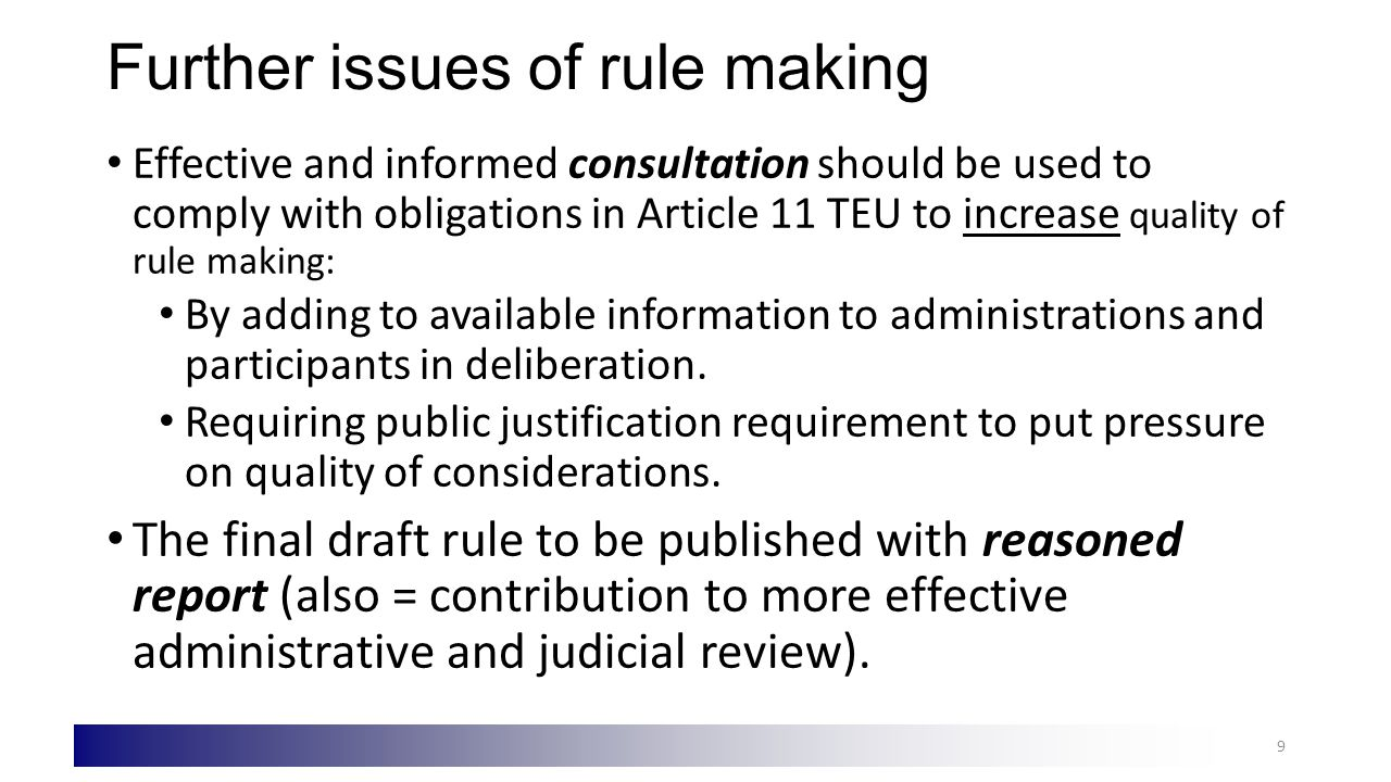 a) Scope of application vis-à-vis MS The Model Rules presented suggest that: In principle, EU administrative procedure law should be applicable to EU authorities only unless declared in full or in part applicable in policy specific legislation to MS administrations = approach in e.g.