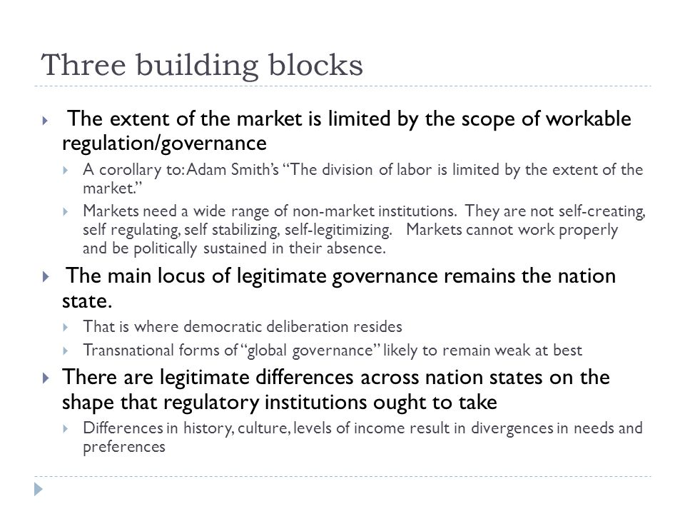 Three building blocks  The extent of the market is limited by the scope of workable regulation/governance  A corollary to: Adam Smith's The division of labor is limited by the extent of the market.  Markets need a wide range of non-market institutions.