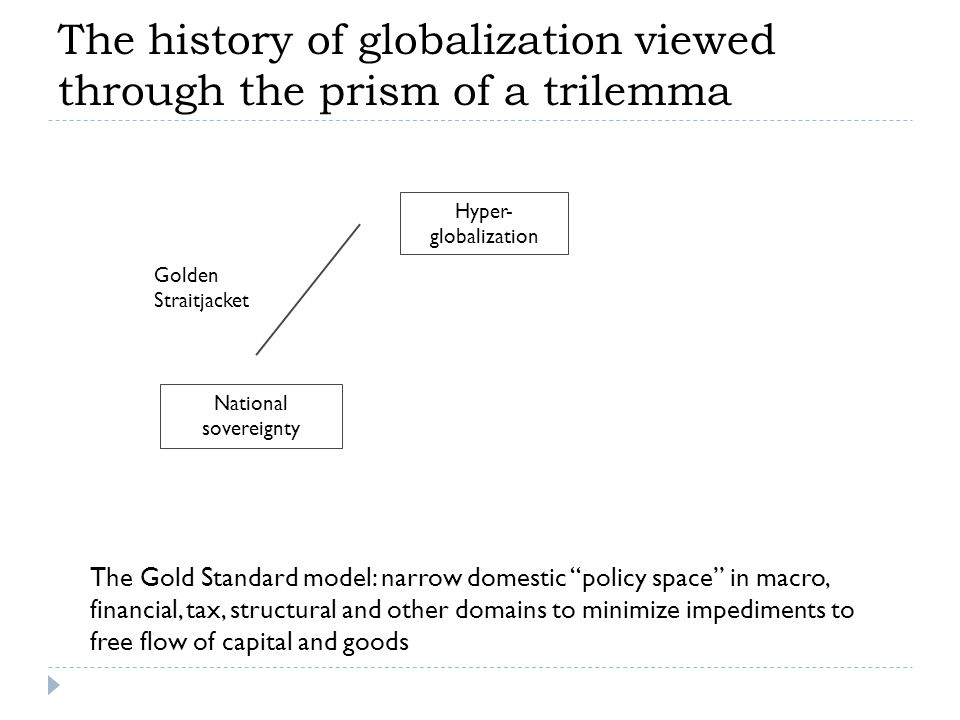Golden Straitjacket National sovereignty Hyper- globalization The Gold Standard model: narrow domestic policy space in macro, financial, tax, structural and other domains to minimize impediments to free flow of capital and goods The history of globalization viewed through the prism of a trilemma