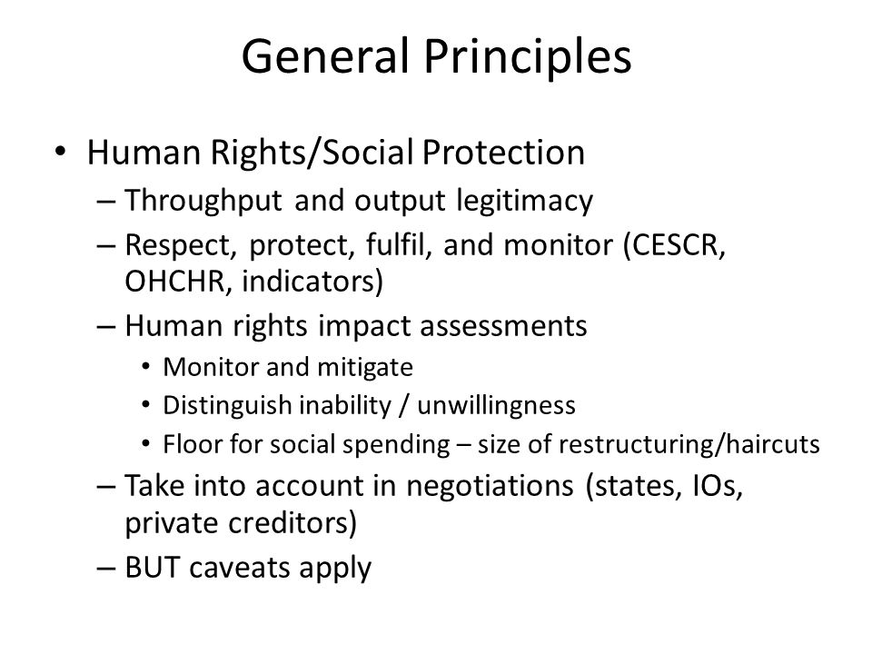 General Principles Human Rights/Social Protection – Throughput and output legitimacy – Respect, protect, fulfil, and monitor (CESCR, OHCHR, indicators) – Human rights impact assessments Monitor and mitigate Distinguish inability / unwillingness Floor for social spending – size of restructuring/haircuts – Take into account in negotiations (states, IOs, private creditors) – BUT caveats apply