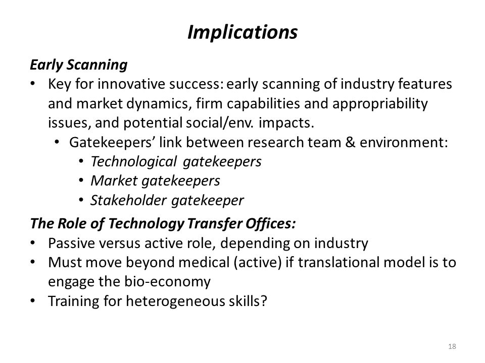 Implications Early Scanning Key for innovative success: early scanning of industry features and market dynamics, firm capabilities and appropriability issues, and potential social/env.