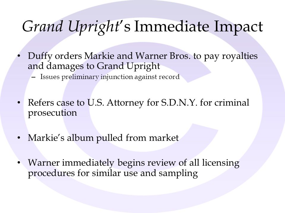 Grand Upright 's Immediate Impact Duffy orders Markie and Warner Bros. to pay royalties and damages to Grand Upright – Issues preliminary injunction a