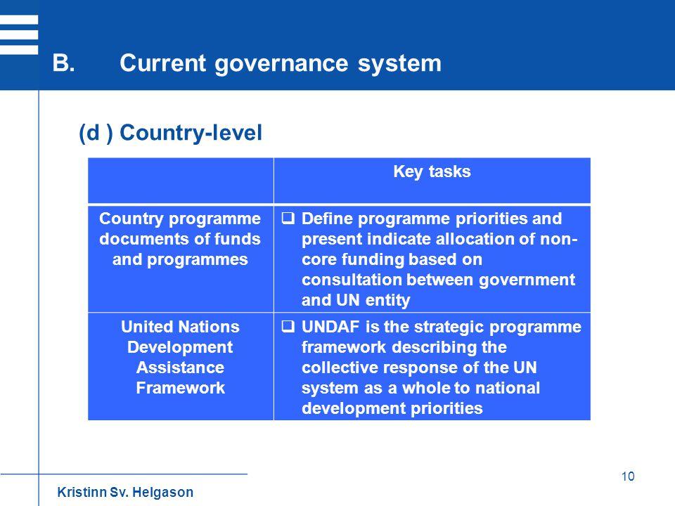 10 (d ) Country-level B.Current governance system Kristinn Sv. Helgason Key tasks Country programme documents of funds and programmes  Define program