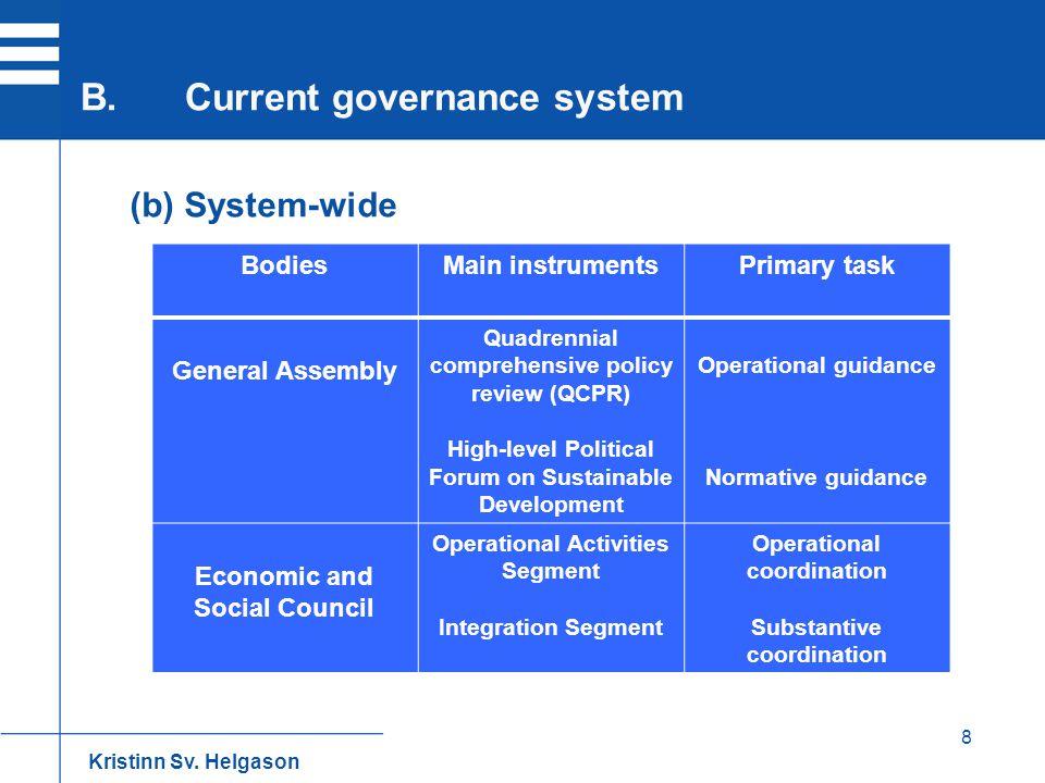 8 (b) System-wide B.Current governance system Kristinn Sv. Helgason BodiesMain instrumentsPrimary task General Assembly Quadrennial comprehensive poli