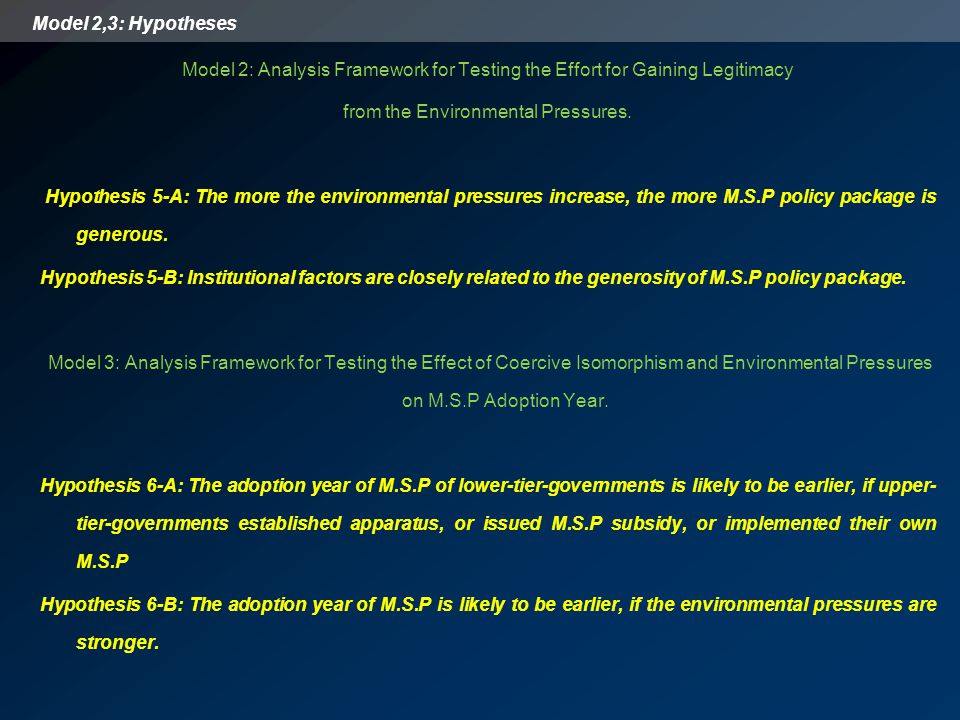 Model 2,3: Hypotheses Model 2: Analysis Framework for Testing the Effort for Gaining Legitimacy from the Environmental Pressures. Hypothesis 5-A: The
