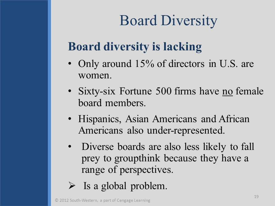 Board Diversity Board diversity is lacking Only around 15% of directors in U.S.