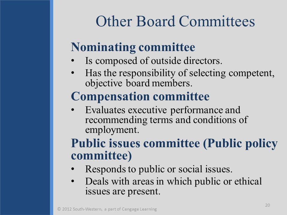 Other Board Committees Nominating committee Is composed of outside directors. Has the responsibility of selecting competent, objective board members.