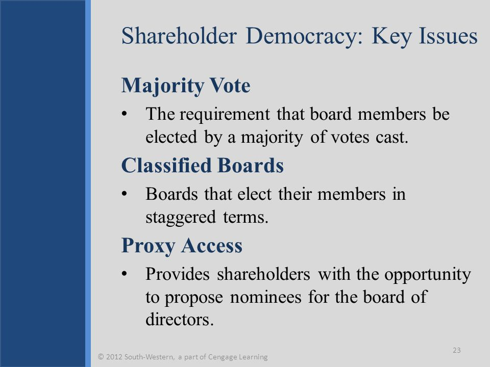 Shareholder Democracy: Key Issues Majority Vote The requirement that board members be elected by a majority of votes cast. Classified Boards Boards th