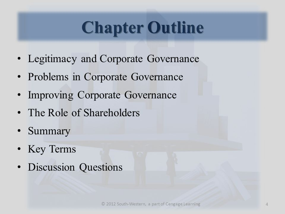 Chapter Outline Legitimacy and Corporate Governance Problems in Corporate Governance Improving Corporate Governance The Role of Shareholders Summary Key Terms Discussion Questions 4 © 2012 South-Western, a part of Cengage Learning