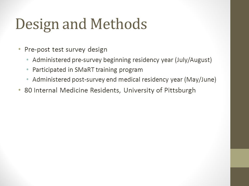 Design and Methods Pre-post test survey design Administered pre-survey beginning residency year (July/August) Participated in SMaRT training program A