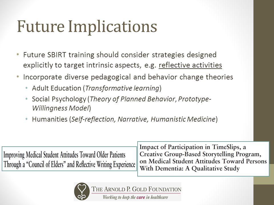 Future Implications Future SBIRT training should consider strategies designed explicitly to target intrinsic aspects, e.g. reflective activities Incor