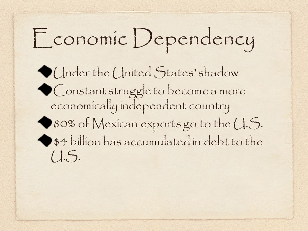 Economic Dependency Under the United States' shadow Constant struggle to become a more economically independent country 80% of Mexican exports go to the U.S.