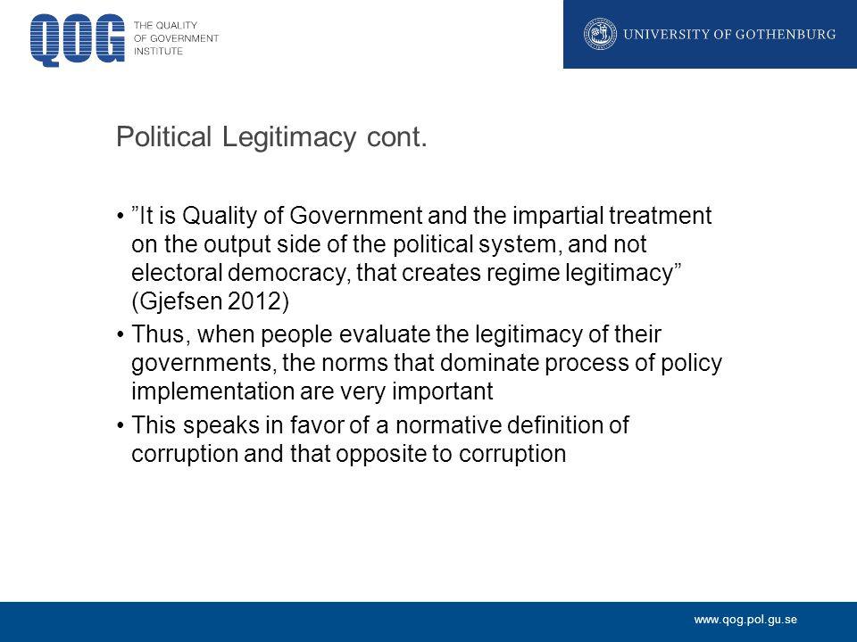 www.qog.pol.gu.se Political Legitimacy cont.
