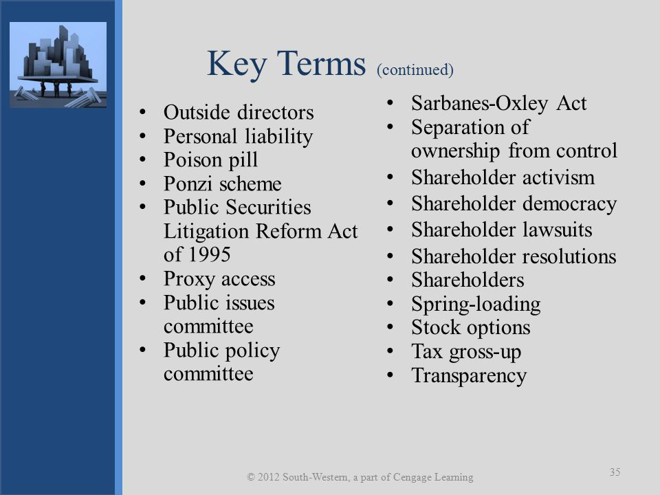 Key Terms (continued) Sarbanes-Oxley Act Separation of ownership from control Shareholder activism Shareholder democracy Shareholder lawsuits Shareholder resolutions Shareholders Spring-loading Stock options Tax gross-up Transparency © 2012 South-Western, a part of Cengage Learning 35 Outside directors Personal liability Poison pill Ponzi scheme Public Securities Litigation Reform Act of 1995 Proxy access Public issues committee Public policy committee