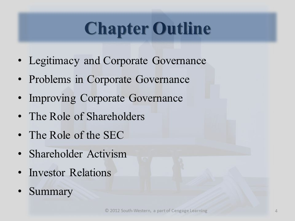 Legitimacy and Corporate Governance Legitimacy A condition that prevails when there is a congruence between an organization's activities and society's expectations.
