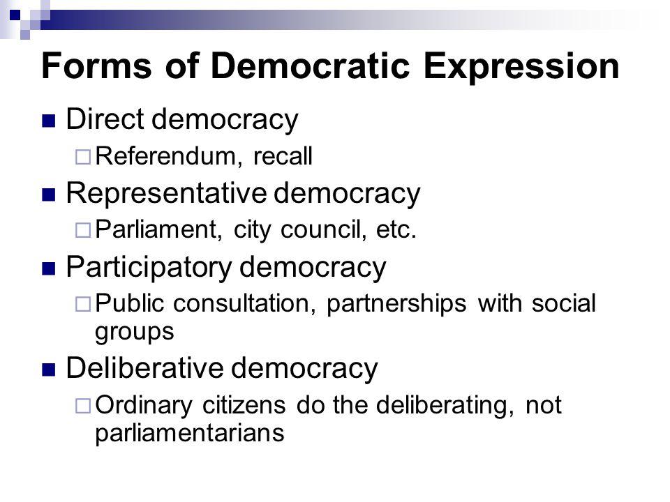 Forms of Democratic Expression Direct democracy  Referendum, recall Representative democracy  Parliament, city council, etc.