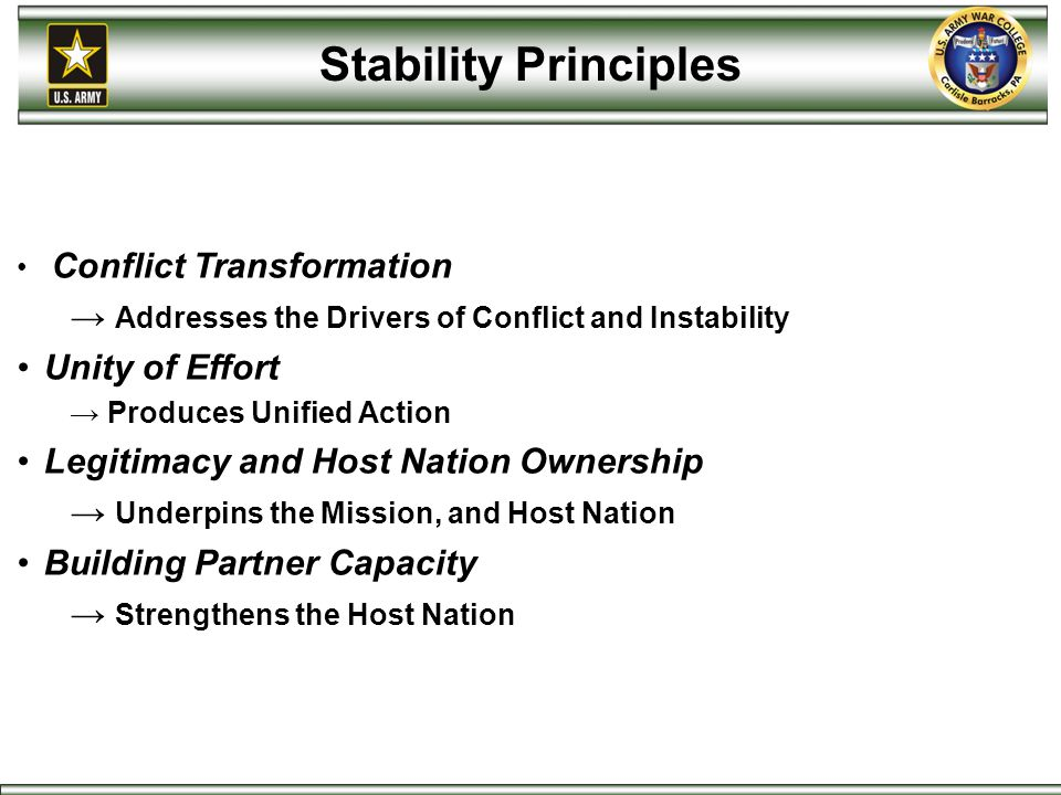 Stability Principles Conflict Transformation → Addresses the Drivers of Conflict and Instability Unity of Effort → Produces Unified Action Legitimacy