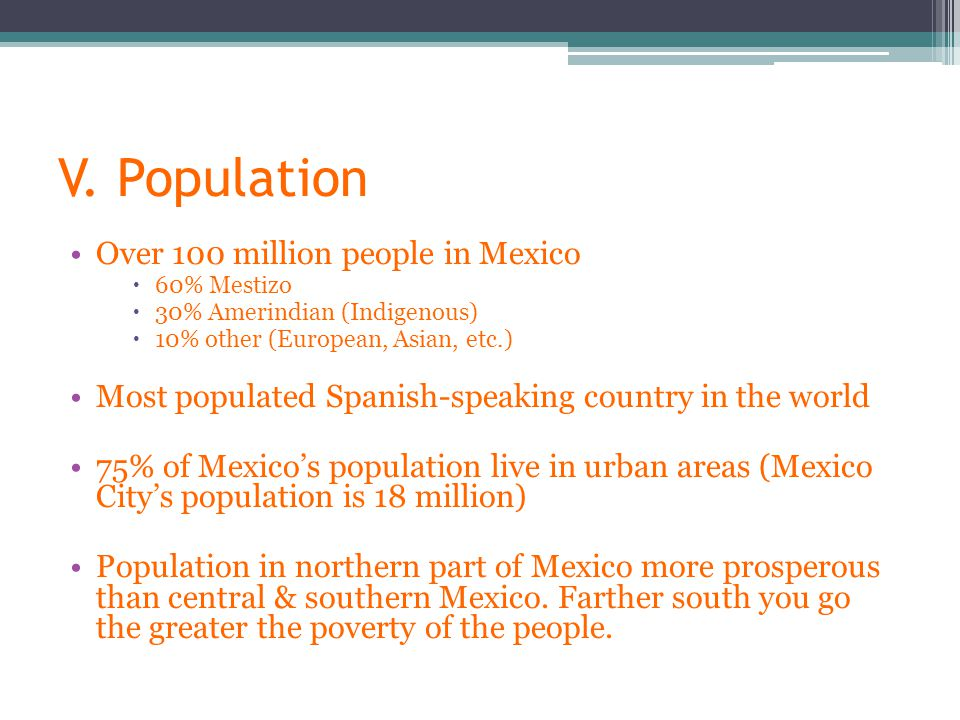 V. Population Over 100 million people in Mexico  60% Mestizo  30% Amerindian (Indigenous)  10% other (European, Asian, etc.) Most populated Spanish