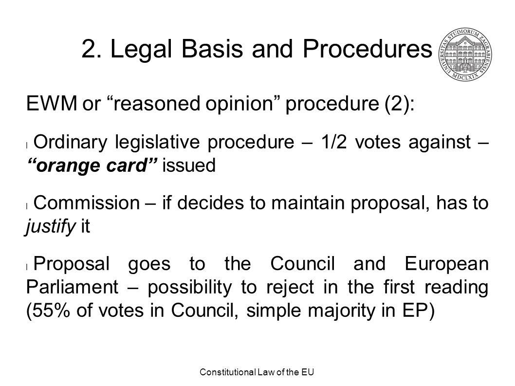 "Constitutional Law of the EU 2. Legal Basis and Procedures EWM or ""reasoned opinion"" procedure (2): Ordinary legislative procedure – 1/2 votes against"